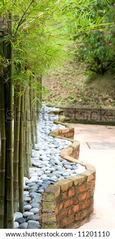 Line of beautiful dwarf bamboo surrounded by pebbles in a landscape garden - stock photo