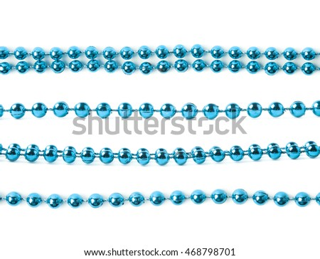Line of blue beads garland thread isolated over the white background, set of four different foreshortenings