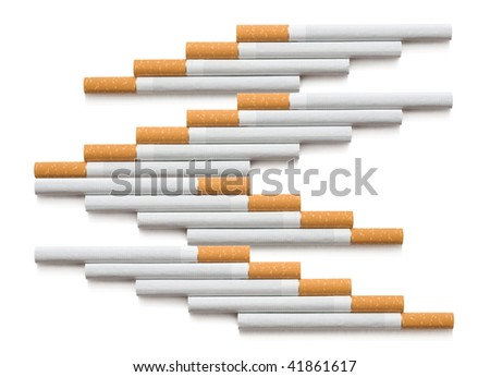 Line of cigarette on white