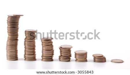 Line of coin money isolated on white backgrounds