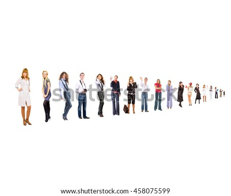 Line of Colleagues Team over White  - stock photo