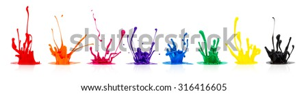 line of colorful paint splashes on white background - stock photo
