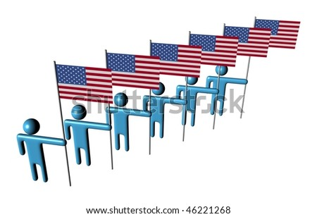 line of 3d abstract men holding American flags illustration