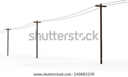 Line of 3D Rendered Power Poles on a White Background - stock photo