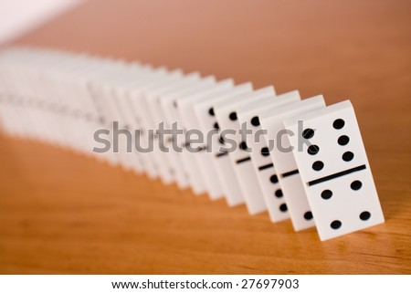 line of domino on table
