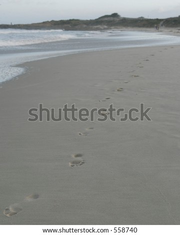 line of footprints in sand
