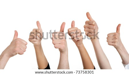 Line of group of human fists giving thumb up - stock photo
