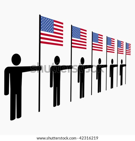 line of men holding American flags illustration JPEG