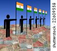 line of men holding Indian flags on Rupee illustration - stock photo