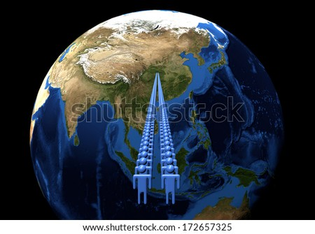 Line of men leading to China on Earth globe illustration - Elements of this image furnished by NASA