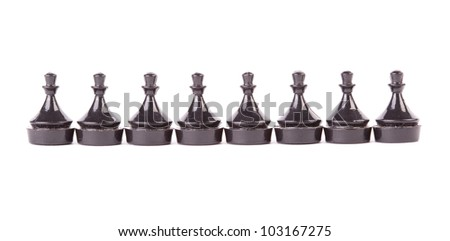 Line of pawns in row isolated on white background