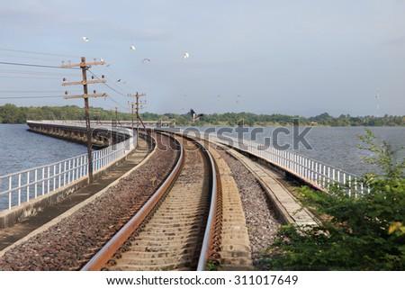 Line of railway crossing  - stock photo