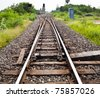 Line of railway crossing in rural of Thiland. - stock photo