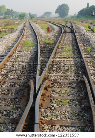 Line of railway in Thailand. - stock photo