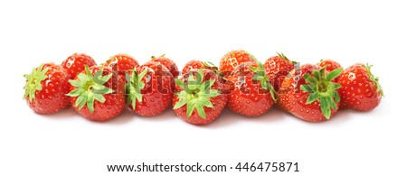 Line of ripe red strawberries isolated over the white background - stock photo