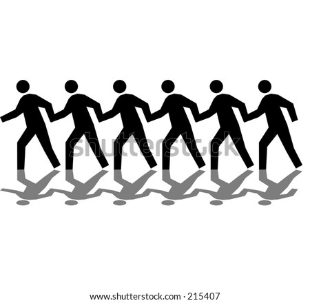 line of running men with shadows on top of a white background
