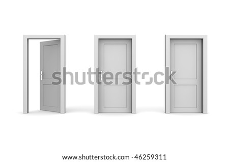 line of three grey doors - door and door frame, no walls - two doors closed, the left one is open