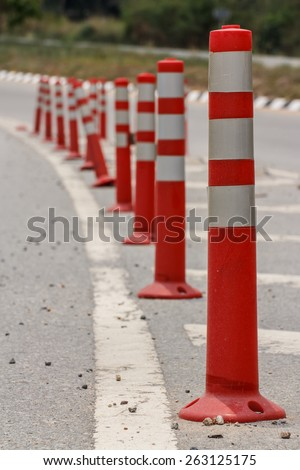 line of traffic cone in Street. - stock photo