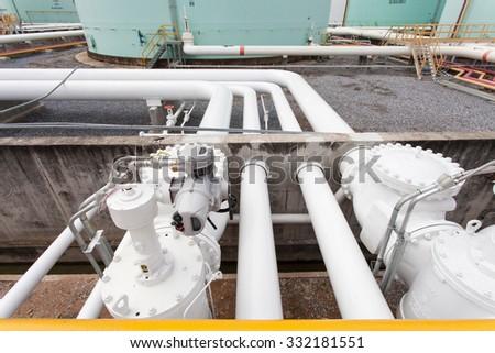 Line oil pipeline transfer - stock photo