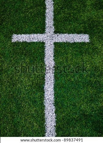 Line on astroturf - stock photo