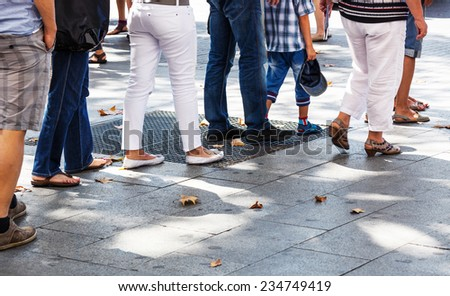 line on the sidewalk in the city - stock photo