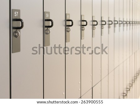 Line or group of unused lockers with selective focus - stock photo