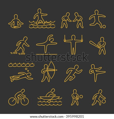 Line shapes athletes. Icon and symbols for popular sports. Gold of sportsmen figure isolated on black background.