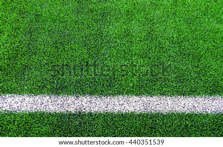 Line sides of artificial grass football (soccer) field