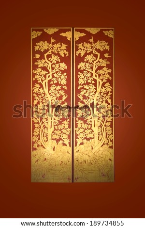 Line Thai painted on the door, Traditional Thai style.  - stock photo