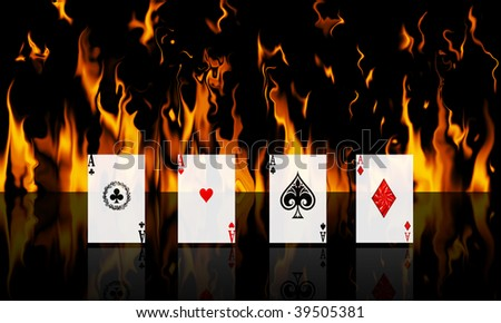 Line up of 4 aces with a fire in the background - stock photo