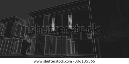 linear architectural sketch perspective  on gray background