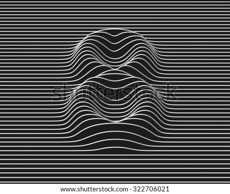 linear 3d font number 8 - stock photo