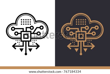 Linear Icon Cloud Based Architecture Data Science Technology And Machine Learning Process Suitable For