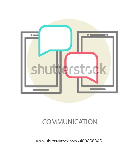 Linear illustration of the concept of communication, communication via the internet, chat on the phone. Correspondence on the internet, conversations on the phone, communication by computer