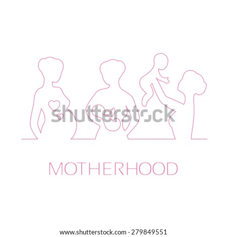 Linear pink silhouette of the pregnant girl, nursing mothers and women playing with baby on a white background. Design elements for Mother's Day greetings.  - stock photo