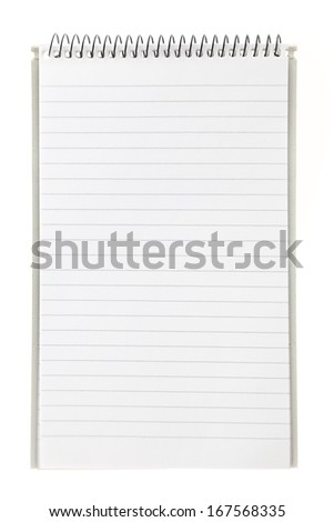 Lined blank notebook with spiral isolated on white - stock photo