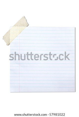 lined blank paper stuck with brown tape - stock photo
