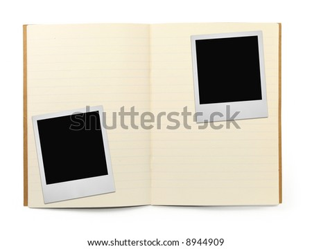 lined exercise book and two photo frames on white, visible shadow in front - stock photo