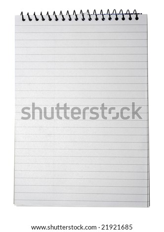 Lined note pad paper with binder as background for business to do list design, isolated on white background