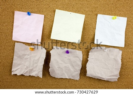 Lined note paper with sticky tape. Paper piece on white notice board, office and business stationary, blank copy space for text