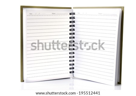Lined notebook  on white background .