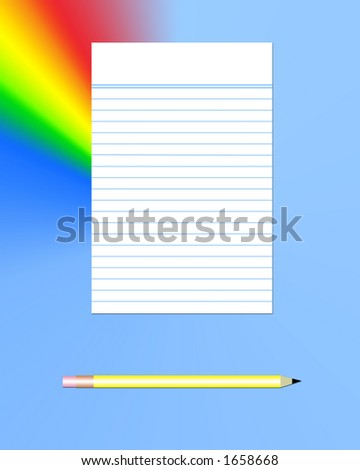 Lined paper and pencil - stock photo