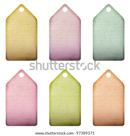 Lined Paper Colorful Tags - stock photo