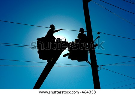Linemen Silhouette - stock photo