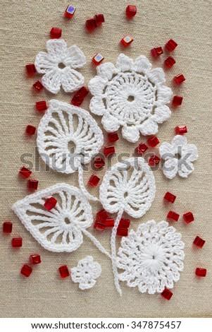 Linen Background Cotton Crochet Lace White Stock Photo Royalty Free