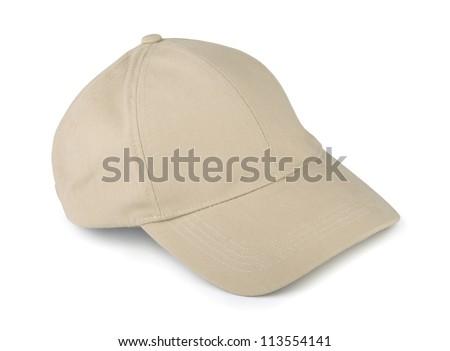 Linen baseball cap isolated on white - stock photo