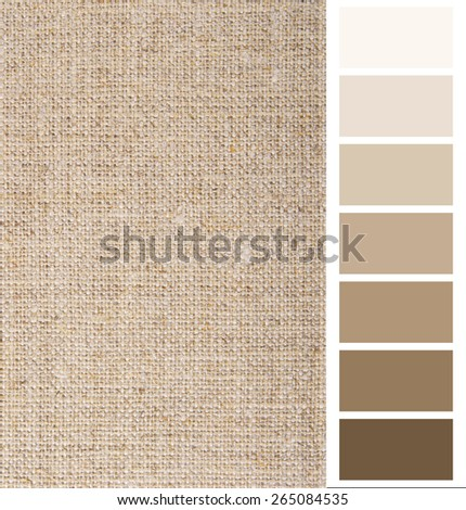 linen hessian fabric color chart complimentary card - stock photo