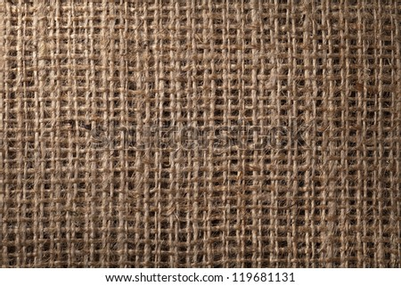 Linen sack background, vintage style. Macro shot - stock photo