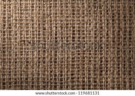 Linen sack background, vintage style. Macro shot - stock photo