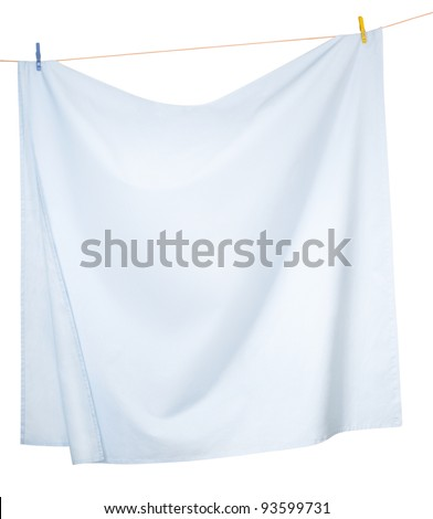 Linen sheets drying on a rope, isolated on a white background - stock photo